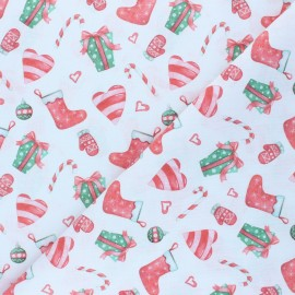 Cretonne Cotton fabric - white Christmas gifts x 10cm