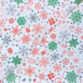 Cretonne Cotton fabric - white Christmas holidays x 10cm
