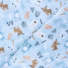 Cretonne Cotton fabric - grey Cozy winter animals x 10cm