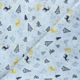 Tissu coton cretonne Christmas tree forest - gris x 10cm