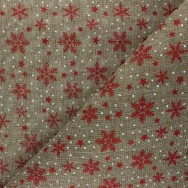 Tissu aspect toile de jute Flocons - naturel x 10cm