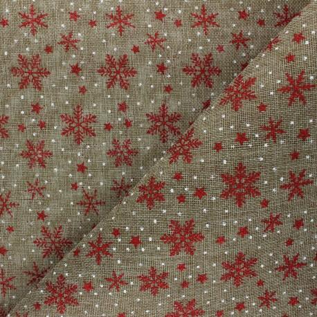 Burlap aspect fabric - natural Flocons x 10cm