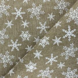 Tissu aspect toile de jute Christmas snowflakes - naturel x 10cm