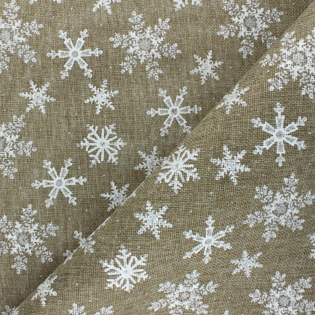 Burlap aspect fabric - natural Christmas snowflakes x 10cm