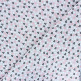 Poppy Oeko-Tex cotton fabric Lovely hearts - grey x 10cm