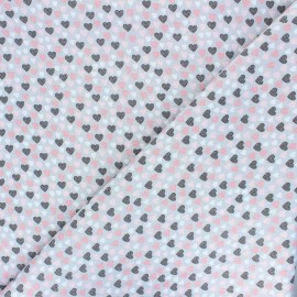 Tissu popeline de coton Oeko-Tex Poppy Lovely hearts - gris x 10cm