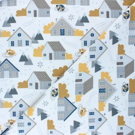 Jersey cotton fabric - white Winter chalet x 10cm