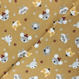 Jersey cotton fabric - yellow mustard Winter friends x 10cm