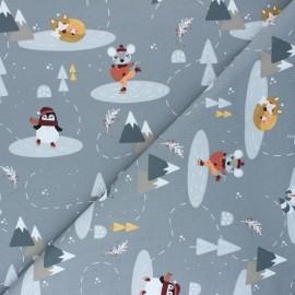 Tissu jersey Winter animals - gris x 10cm