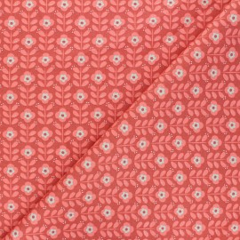 Tissu coton popeline Poppy Floral Fantasy B - terracotta x 10cm
