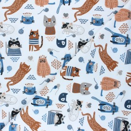 Jersey cotton fabric - white Cats team x 10cm