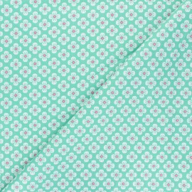 Fiona Hewitt poplin cotton fabric - green Sweet Japan Flowers x 10cm