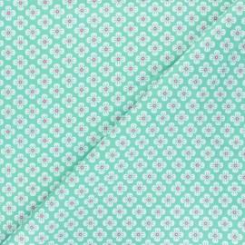 Tissu popeline de coton Fiona Hewitt - Sweet Japan Flowers - vert x 10cm