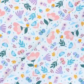 Tissu coton popeline Poppy Flowers - blanc cassé x 10cm
