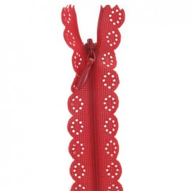 Invisible Closed bottom zipper lace - red