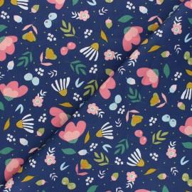 Tissu coton popeline Poppy Flowers - bleu marine x 10cm