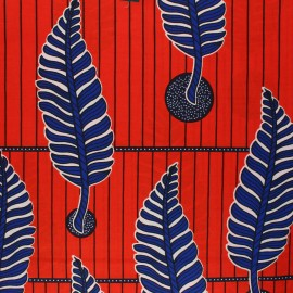 Wax print fabric - red Kingari x 10cm