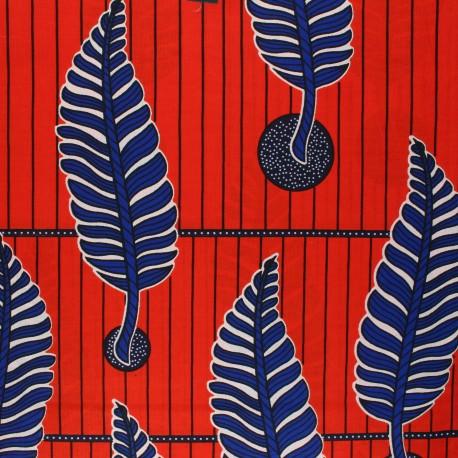 Wax print fabric - red Kingari x 10cm