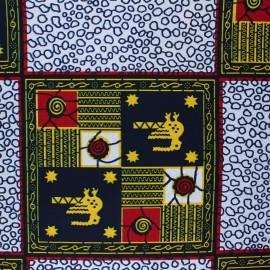 Tissu Wax Kirua - blanc x 10cm