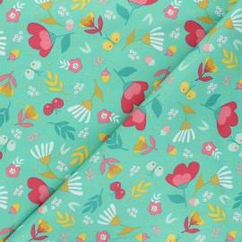 Tissu coton popeline Poppy Flowers - vert x 10cm
