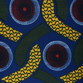 Wax print fabric - blue Kyria x 10cm