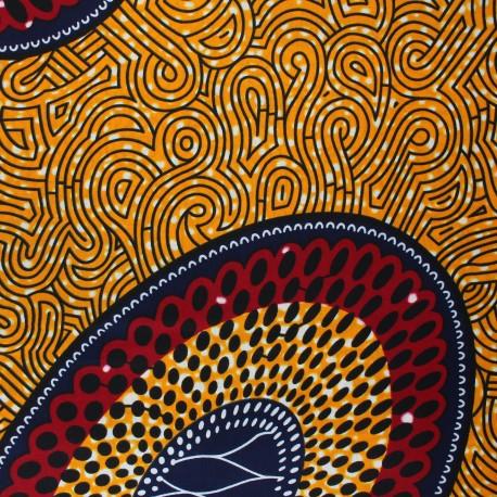 Wax print fabric - orange Naberera x 10cm