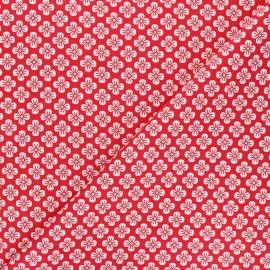 Tissu popeline de coton Fiona Hewitt - Sweet Japan Flowers - rouge x 10cm