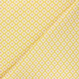 Tissu popeline de coton Fiona Hewitt - Sweet Japan Flowers - jaune x 10cm