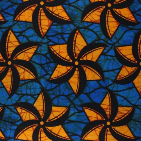 Wax print fabric - blue Mara x 10cm