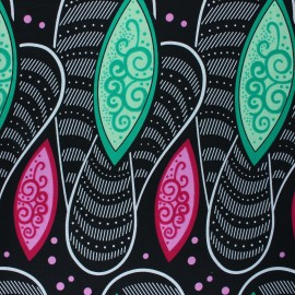 Wax print fabric - black Maswa x 10cm