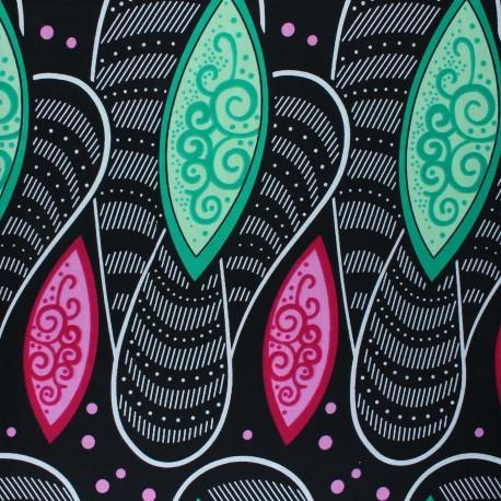 Wax print fabric - black Maswa x 10cm