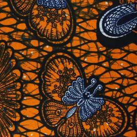 Tissu Wax Kahunda - orange x 10cm