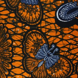 Wax print fabric - orange Kahunda x 10cm