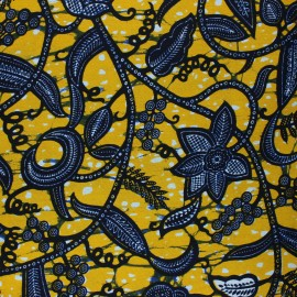 Wax print fabric - yellow Nyonga x 10cm