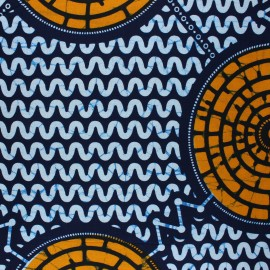 Wax print fabric - blue Magamba x 10cm