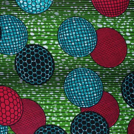 Wax print fabric - green Santilya x 10cm