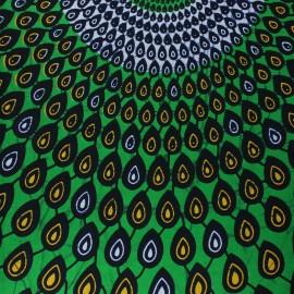 Wax print fabric - green Kyela x 10cm
