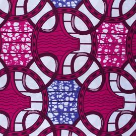 Wax print fabric - pink Kowela x 10cm