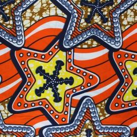 Tissu Wax Loya - orange x 10cm
