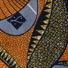 Wax print fabric - orange Kisongo x 10cm