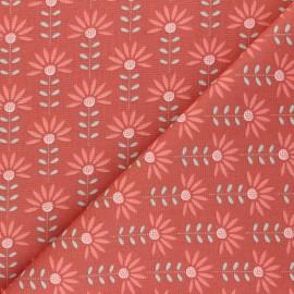 Poppy poplin cotton fabric - terracotta Floral Fantasy C x 10cm