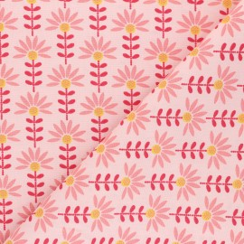 Poppy poplin cotton fabric - pink Floral Fantasy C x 10cm
