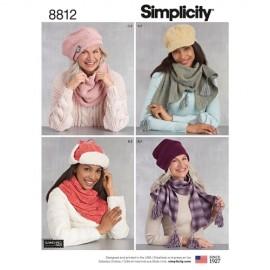 Patron Bonnets, chapeaux et écharpes Femme - Simplicty n°8812