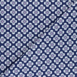 Tissu popeline de coton Fiona Hewitt - Sweet Japan Flowers - bleu marine x 10cm