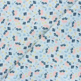 Poppy poplin cotton fabric - mouse grey Pretty Flowers x 10cm