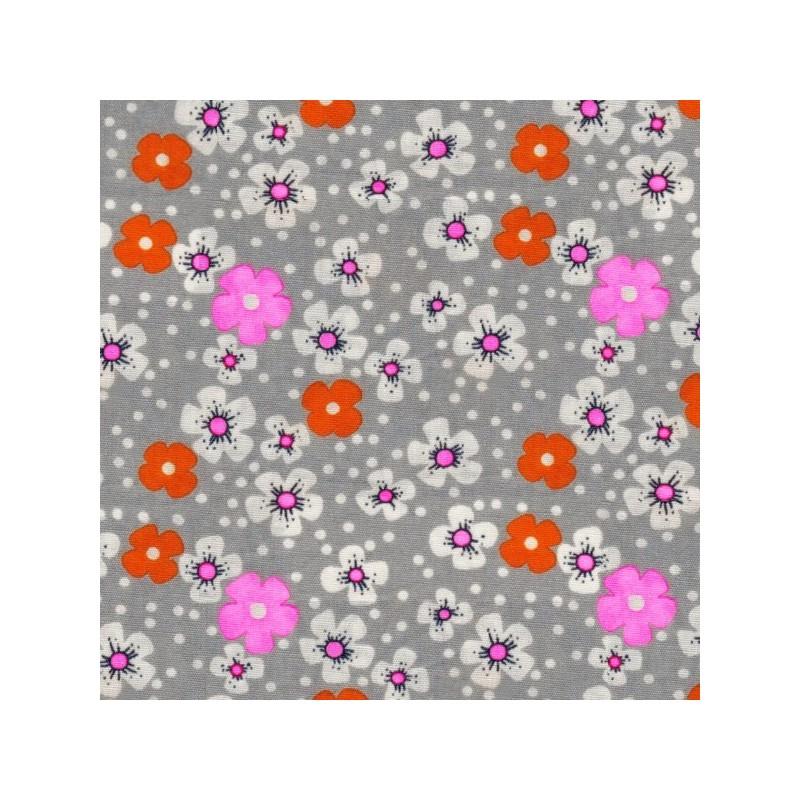 tissus pas cher tissu enduit coton fleurs des iles gris. Black Bedroom Furniture Sets. Home Design Ideas