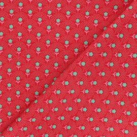 Fiona Hewitt poplin cotton fabric - red Delight Flowers x 10cm