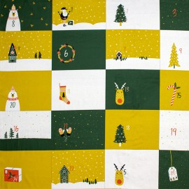Tissu coton Poppy Advent Calendar - vert x 99cm
