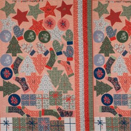 Tissu coton Calendrier de l'Avent Poppy Advent Calendar B - rose x 98cm