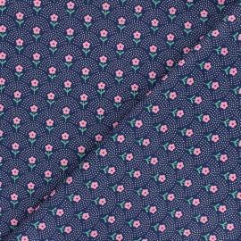 Fiona Hewitt poplin cotton fabric - navy blue Delight Flowers x 10cm